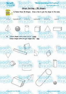 sorting worksheets year 1 7729 shape sorting 3d shapes teach my