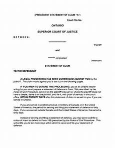 statement of defence form 18a editable fillable printable legal templates to download