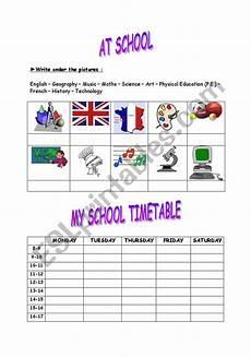 my school timetable esl worksheet by lila59