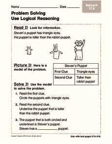problem solving use logical reasoning worksheet for kindergarten 1st grade lesson planet