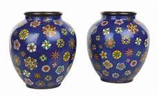vasi cinesi cloisonne coppia di vasi cloisonn 232 a fondo a decoro policromo