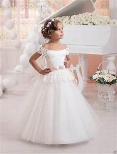2017 lovely strapless flower girl dresses for wedding vintage white lace tulle kid ball gown