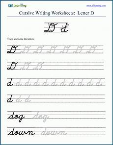 letter d cursive handwriting worksheets 24199 cursive writing letter d k5 learning