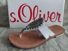 s oliver damen sandalen flip flops wei 223 leder maultiere