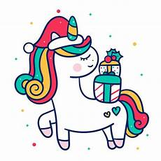 cute unicorn vector christmas character cartoon merry mas wear santa hat happy new year