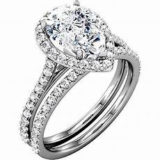 pear cut wedding ring 2 23 ctw halo cathedral accented