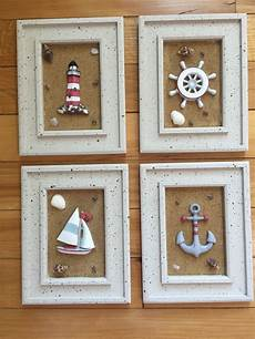 4pc framed anchor boat coastal beach wall art seaside