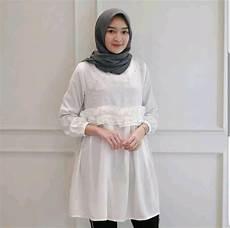 jual tunik mewah tunic putih polos blouse mutiara asli mustard elegan atasan alma hitam baju