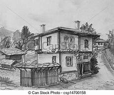 drawing of traditional bulgarian house pencil black