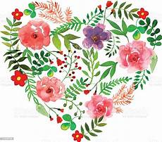 Malvorlage Herz Mit Blumen Blumen Herz Mit Isoliert Blumen Kr 228 Utern Und Bl 252 Ten