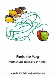 Ausmalbild Igel Apfel Finde Den Weg Welcher Igel Bekommt Den Apfel