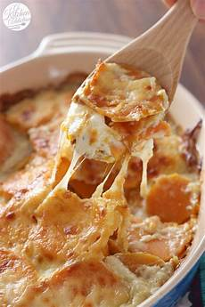gericht mit kartoffeln easy cheesy scalloped sweet potatoes side dish from a