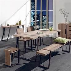 Table Rectangulaire Design Industriel En Bois Brut Et Fer