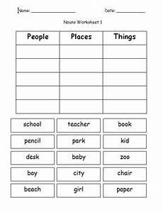 first grade grammar writing categorizing nouns cut and paste worksheet packet