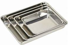 3xstainless steel baking roasting cooking tray set bakeware oven dish 25 30 40cm ebay