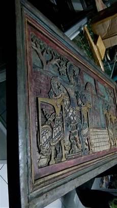 jual hiasan dinding relief kuno wayang pandawa kayu mahoni tua di lapak budy antiques gallery