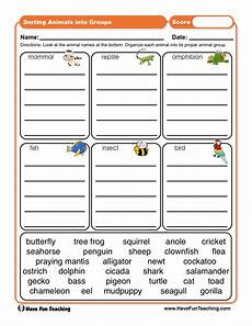 sorting and classification worksheets 7771 sorting animals into groups worksheet teaching