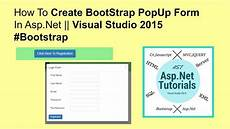 how to create bootstrap popup form in asp net visual studio 2015 bootstrap youtube