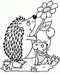 Ausmalbild Igel Im Laub Igel Und Maus Mit Ballon Ausmalbild Malvorlage Tiere