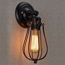 ecopower vintage style industrial black wire cage wall sconce ls shades