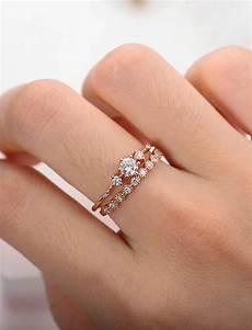 dainty wedding ring sets moissanite engagement ring rose gold vintage diamond