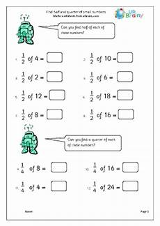 fraction worksheets year 2 free 4176 find half and quarter of small numbers