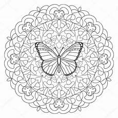 butterfly mandala coloring page stock vector 169 kronalux