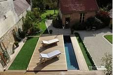 photo terrasse mobile coulissante de piscine spa en bois