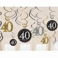 dekoration 40 geburtstag geburtstag dekoration swirls sparkling celebration 40