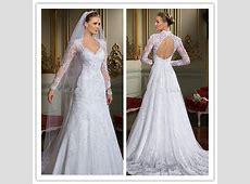 A line Vneck long sleeve lace open back muslim wedding