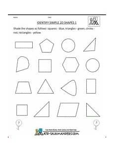 Identify Simple 2d Shapes 1st Grade Geometry Worksheet