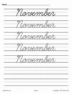 12 free cursive handwriting worksheets months of the year supplyme