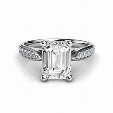 cathedral pave emerald cut diamond engagement ring