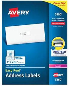 avery 5160 5960 8160 address labels 30 labels sheet 900 1500 labels ebay