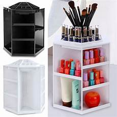 rotating cosmetic organizer white plastic makeup storage