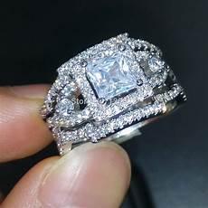 wieck dazzling engagement topaz simulated diamond 925 silver cross 3 wedding band ring