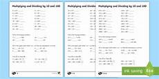 multiplying and dividing by 10 and 100 worksheets