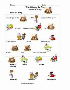 worksheets kindergarten 15528 rebus story the library worksheet 2 pages by owens tpt