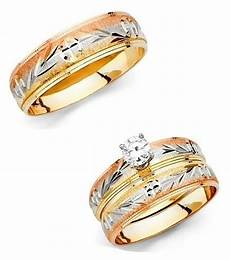 14k tri color gold leaves trio wedding band bridal solitaire engagement ring ebay