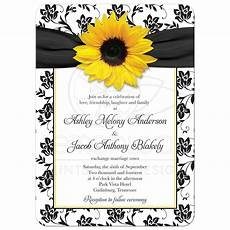 Yellow And Black Wedding Invitations wedding invitation sunflower damask black white yellow