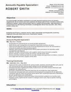 accounts payable specialist resume sles qwikresume