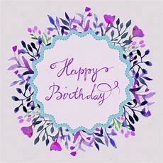 happy birthday card watercolor frame with