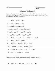 balancing of chemical equations practice 1 by fred ende tpt