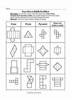 grade 5 geometry nets worksheets 828 nets to solids card sort geometry geometric shapes math geometry teaching math
