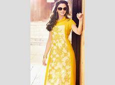 yellow long straight designer kurti 1   HijabiWorld