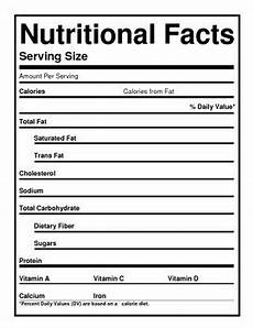 blank nutrition labels by the barefoot professor tpt