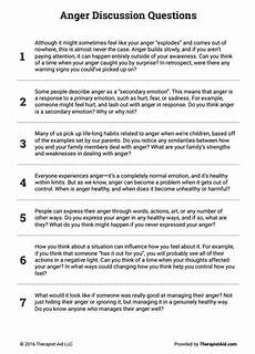 anger discussion questions worksheet therapy worksheets