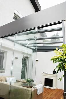 schiebetür glas terrasse schiebet 252 ren aus glas f 252 r sommergarten mit flachdachoptik