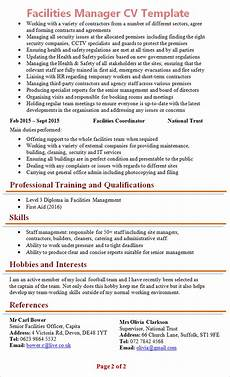 Building Manager Uk by Facilities Manager Cv Template 2