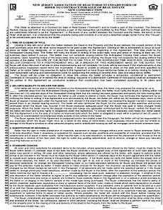 bill of sale form new jersey association of realtors standard form of real estate contract